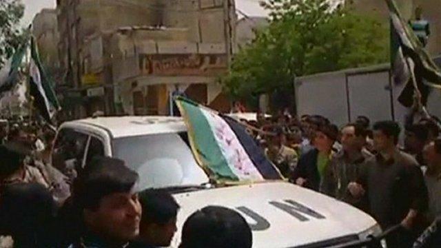UN vehicle in Damascus