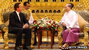 UK PM David Cameron meets Burmese President Thein Sein in Burma on 13 April 2012