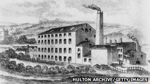 Illustration of Rawfolds Mill near Huddersfield, Yorkshire, circa 1810
