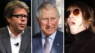 (left to right) Jonathan Franzen, Prince Charles and Liam Gallagher