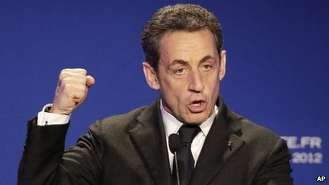 Nicolas Sarkozy speaks in Saint Maurice, outside Paris, 19 April