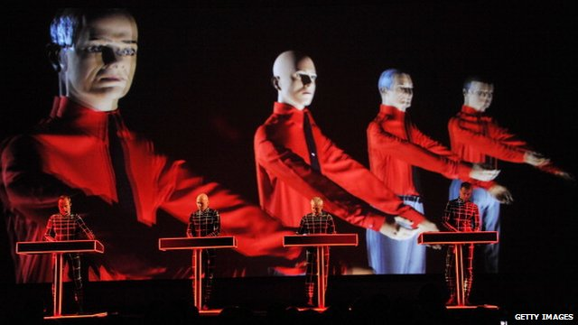 Ralf Htter (far left) performs with Kraftwerk at the Museum of Modern Art in New York
