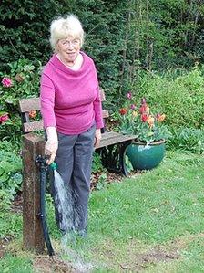 Vera Morris in her garden in Micklands Road
