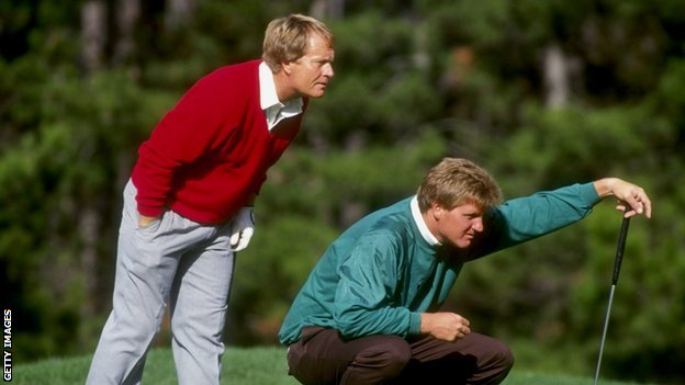 Jack Nicklaus and son Stephen line up a putt at Pebble Beach in 1991