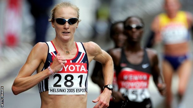 Paula Radcliffe on her way to marathon gold in the 2005 World Championships