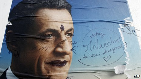 Sarkozy campaign poster covered in graffiti