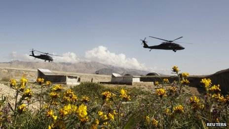 US military Black Hawk helicopters in Afghanistan's Laghman province (March 26, 2012)