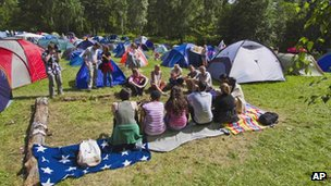 This photo shows young people on the Labour Youth League summer camp on Utoeya island on 21 July 2011 - a day before Breivik&#039;s massacre