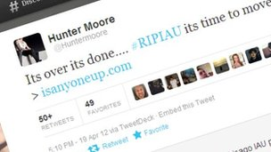 Screenshot of Hunter Moore tweet