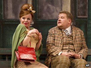 Suzie Toase and James Corden in a scene from One Man, Two Guvnors