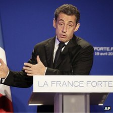 President Sarkozy speaking in St Maurice near Paris, 19 Apr 12