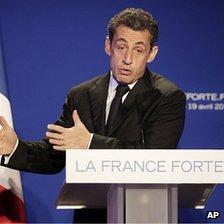 President Sarkozy speaking in St Maurice near Paris, 19 Apr 12