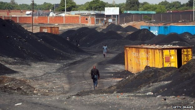Piles of slag at the Gecamines concession in Lubumbashi , in the heart of the mineral rich Katanga province, Democratic Republic of Congo