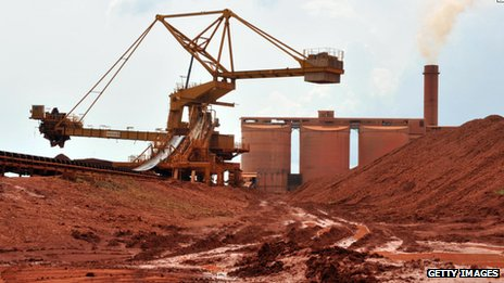 Bauxite is processed at the bauxite factory of Guinea's largest mining firm, Compagnie des Bauxites de Guinee (CBG), at Kamsar, a town north of the capital Conakry
