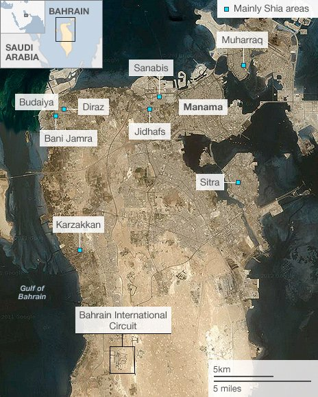 Map showing mainly Shia areas of Bahrain