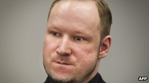 Norwegian anti-Islamic mass killer Anders Behring Breivik in court in Oslo on Friday