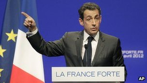 French President Nicolas Sarkozy at a rally in Nice, 20 April