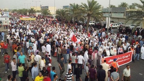 Photograph published by the opposition group al-Wefaq purportedly showing protest in Budaiya (20 April 2012)