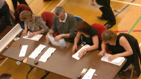 People at an election count