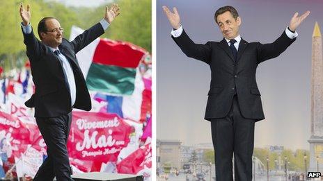 A montage image Francois Hollande (L) and Nicholas Sarkozy (R)