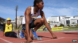 Runner Caster Semenya prepares for a race in Cape Town, South Africa in March 2012