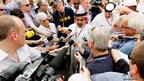 Formula 1 boss Bernie Ecclestone and Prince Salman bin Hamad Al Khalifa speak to the media in in the paddock following practice for the Bahrain Formula One Grand Prix at the Bahrain International Circuit