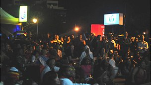 Hundreds of people crowded into Emancipation Park for the premiere