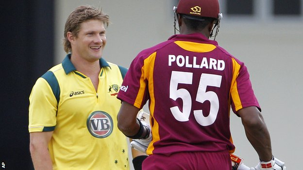 Australia's Shane Watson and West Indies' Kieron Pollard