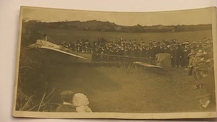 A photo of Corbett Wilson's plane after it landed in Pembrokeshire