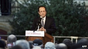 France's Socialist Party candidate for Francois Hollande delivers a speech in Charleville-Mezieres, 20 April