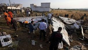 Wreckage from the crash near Islamabad. 21 April 2012