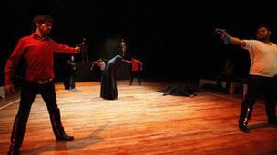 Actors from the Iraqi Theatre Company rehearse a scene from Romeo and Juliet