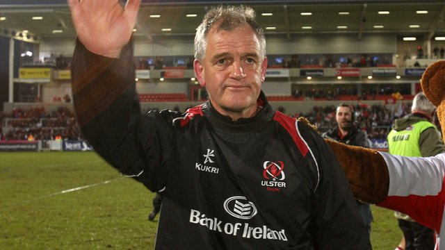Brian McLaughlin waves goodbye to the Ravenhill crowd 