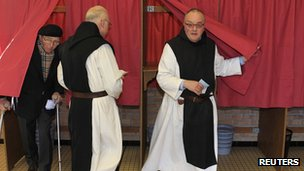 These Trappist monks in Godewaersvelde, northern France, were among early voters