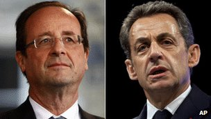 Francois Hollande (left) and Nicolas Sarkozy