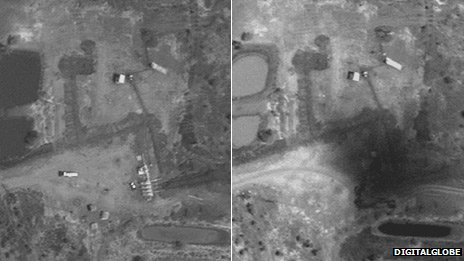 Before and after pictures of a manifold in Heglig oil field, 7 February and 15 April 2102