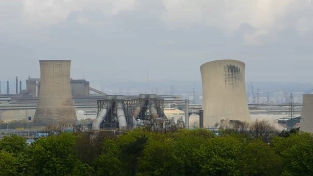 The two cooling towers and concrete stack were brought down in a controlled demolition