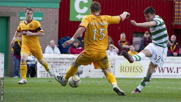Celtic striker Tony Watt scores against Motherwell