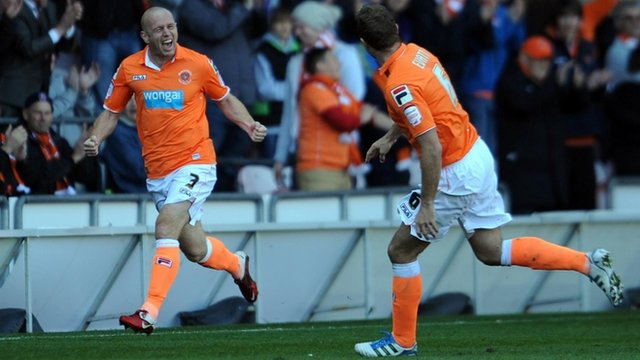 Stephen Crainey celebrates scoring for Blackpool