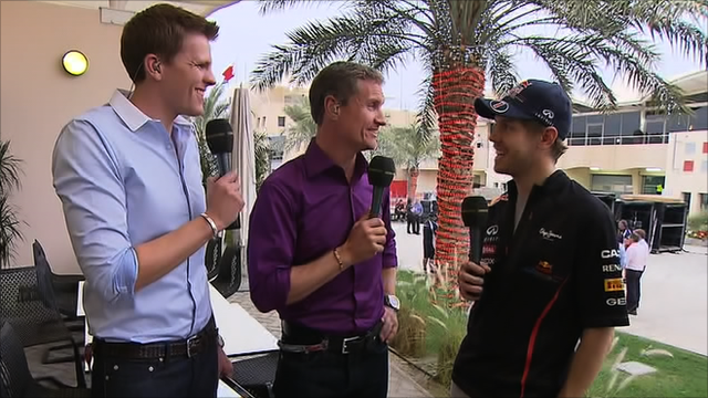 Jake Humphrey, David Coulthard and Sebastian Vettel