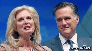 US Republican presidential hopeful Mitt Romney listens to his wife Ann as she addresses the National Rifle Association (NRA) Leadership Forum on April 13, 2012 in St. Louis, Missouri