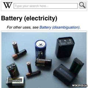 "A screenshot of the entry for ""batteries"" on Wikipedia"