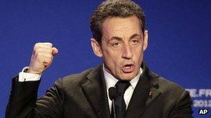 Nicolas Sarkozy speaks in Saint Maurice, outside Paris, 19 April