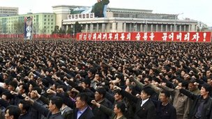 A rally in North Korea denouncing the South Korean president