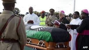 The coffin of Malawi's ex-leader Bingu wa Mutharika