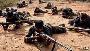 Maoists rebels at a training camp in eastern India