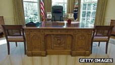 The desk that US President George W. Bush used inside the White House Oval Office