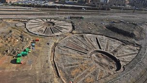 Ariel photo of the historic turntables unearthed near York station. Photo: Network Rail