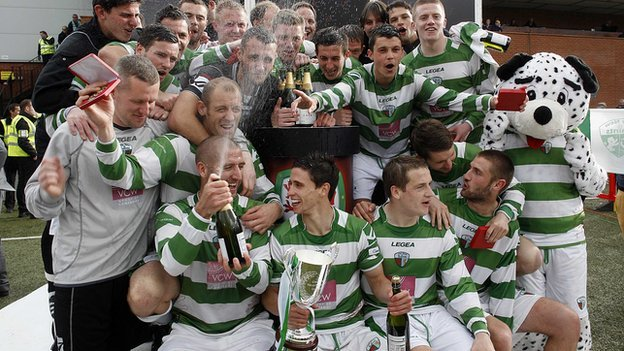 The New Saints celebrate winning the Welsh Premier League title