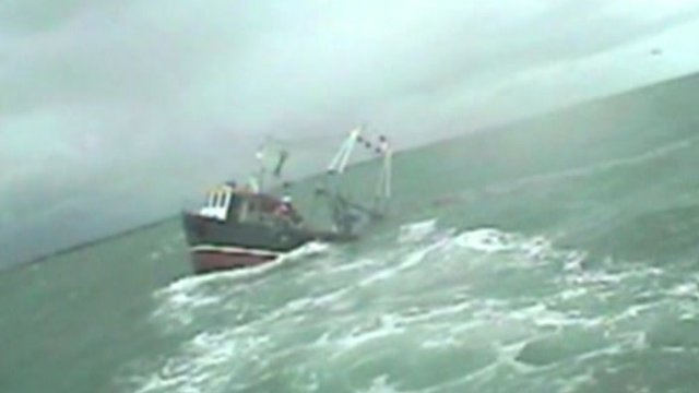 Fishing trawler Sea Bird P283 sinking off the coast of Hampshire